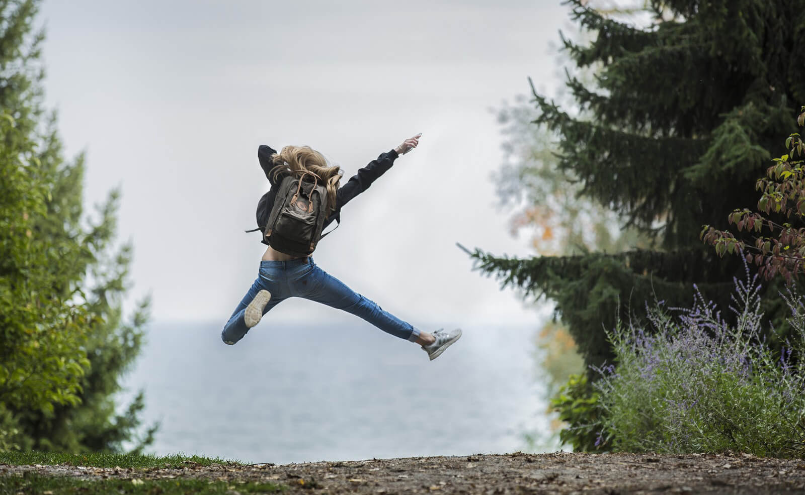 Very happy client jumping for joy